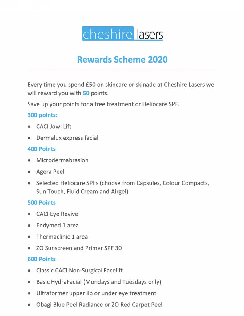 Cheshire Lasers reward scheme jan 2020