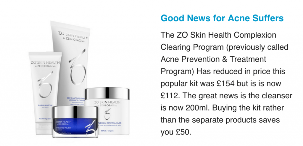 za acne clearing programme Cheshire lasers